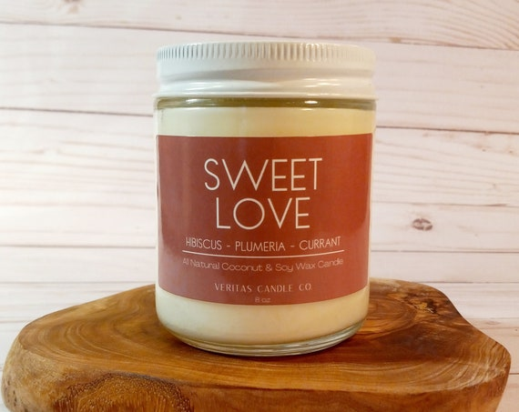 SWEET LOVE All Natural Coconut + Soy Wax Candle | Hawaii | Sexy Candle | Hibiscus | Plumeria |