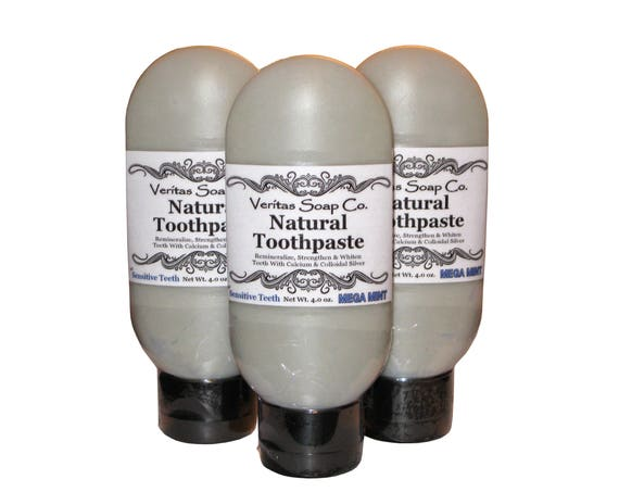 TOOTHPASTE for Sensitive Teeth - Clean Your Teeth with Colloidal Silver & Calcium in MEGA MINT / Vegan / No Fluoride / No Baking Soda / Kids