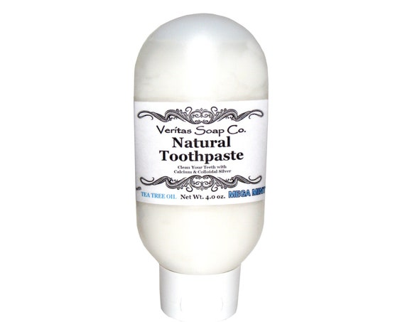 Natural TOOTHPASTE - Clean your Teeth with Colloidal Silver and Calcium in MEGA MINT / Vegan / No Fluoride / No sls / Oil Pulling