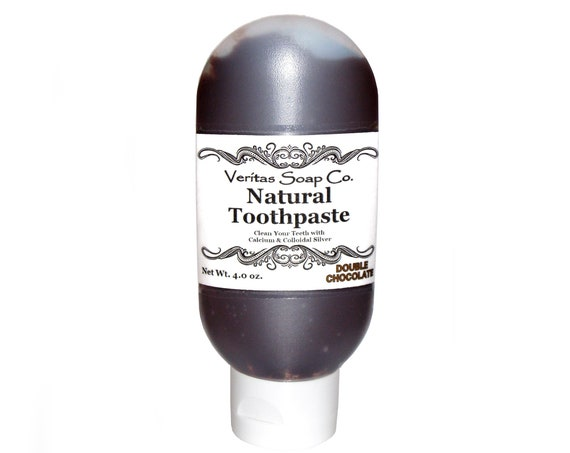 DOUBLE CHOCOLATE Toothpaste - Clean Your Teeth with Calcium, Colloidal Silver & Cacao / Vegan / No sls / No Fluoride / Brown Toothpaste