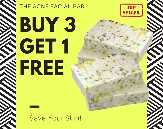 BUY 3 GET 1 FREE - Acne Soap - The Acne Facial Bar - Tea Tree Oil Soap Bar with Calming Calamine, Chamomile & Calendula | Gift for Teen