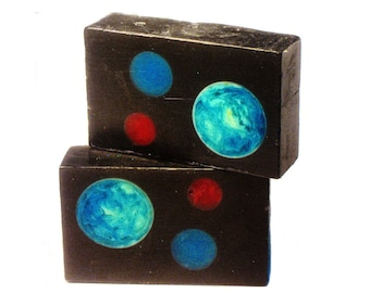 Charcoal Soap - The SPACE Bar - Activated Charcoal, Moringa with Bergamot & Grapefruit Essential Oil, Vegan, Cosmos, Universe, Planets, Art