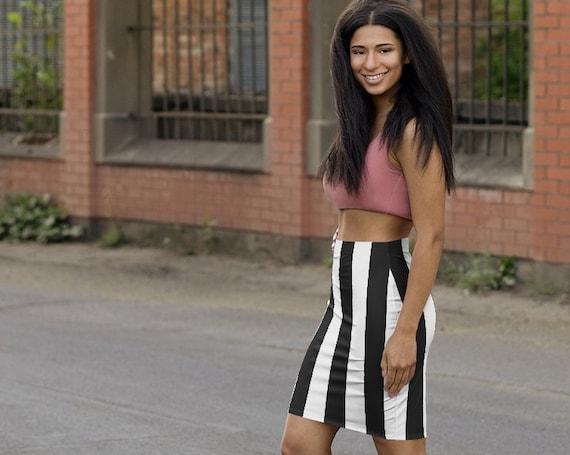 BLACK & WHITE STRIPED Pencil Mini Skirt | Beach Babe | Florida Fun | Fitted Skirt | Goth Girl | Fun Female