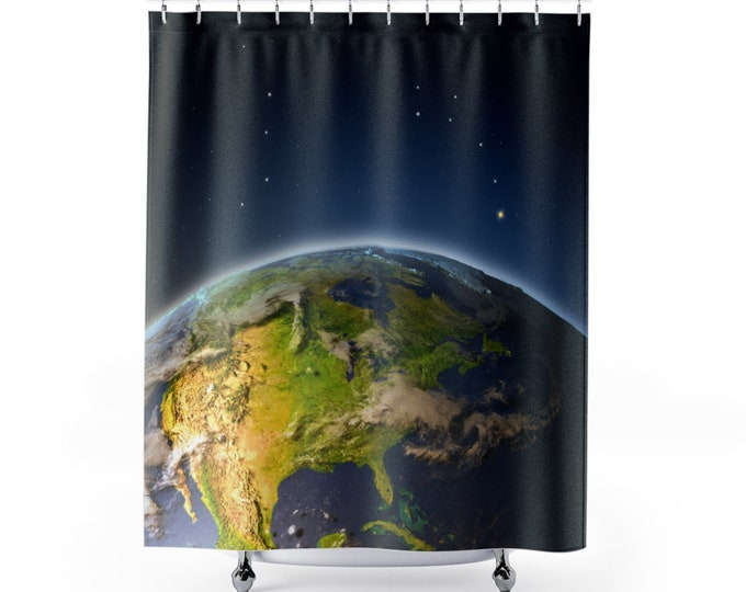 EARTH FROM SPACE Shower Curtain | North America | Planets | Stars | Cosmic | Gift | Galactic