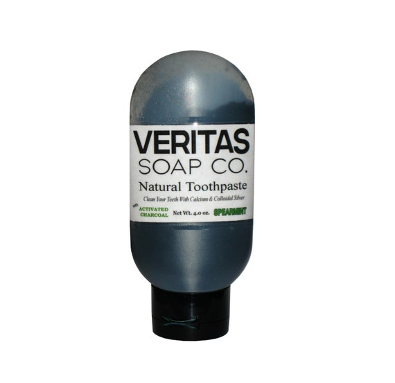 Charcoal TOOTHPASTE - Clean your Teeth with Colloidal Silver in SPEARMINT, Organic, Vegan, No Fluoride, Whitening Toothpaste, Face Scrub
