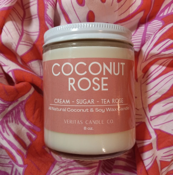 COCONUT ROSE All Natural Coconut + Soy Wax Candle | Elegance | Beach Floral | Tea Rose | Sugar | Acai Berries