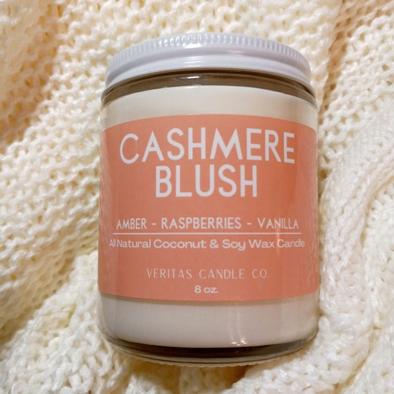 CASHMERE BLUSH All Natural Coconut + Soy Wax Candle | Vanilla | Amber | Raspberries | Sugar |