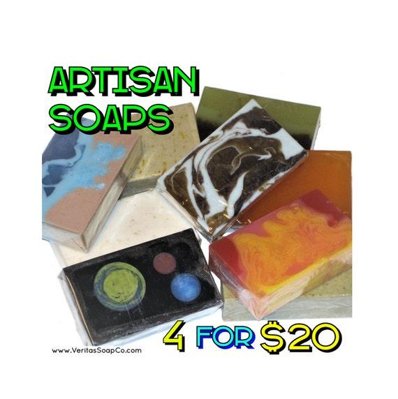 4 Soap Bars for 20 Dollars - Save Money when you buy 4 Artisan Soaps! (Companys Choice) - Vegan / Space / Bohemian / Lemon / Salt / Acne