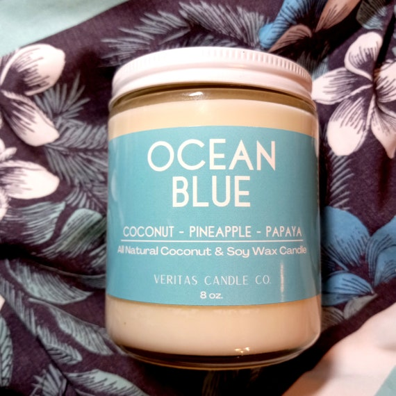 OCEAN BLUE All Natural Coconut + Soy Wax Candle | Pineapple | Fruity Candle | Coconut | Mango | Beach | Ocean