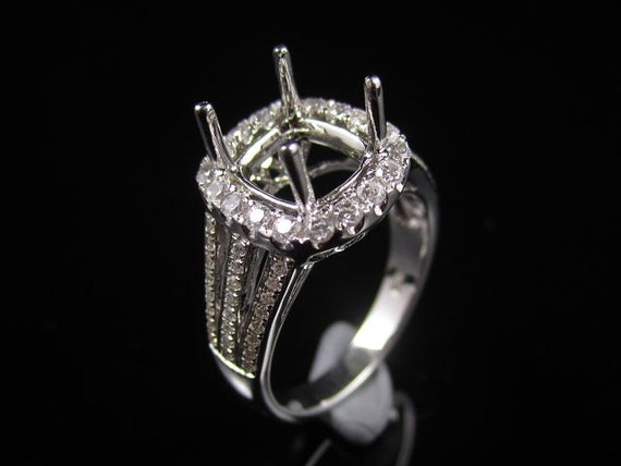 7x6mm Cushion Solid 10k Yellow Gold Semi Mount Setting Engagement Diamonds Ring