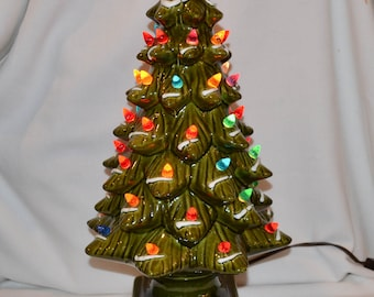 vintage ceramic christmas tree with plastic multicolored lights inches tall