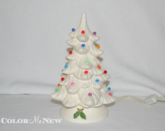 vintage white holland ceramic christmas tree with plastic lights 85 inches tall