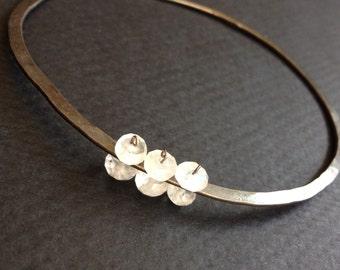 tapestry gemstone bracelet forged antique sterling silver bangle moonstone, labradorite,black spinel, tourmilinated quartz