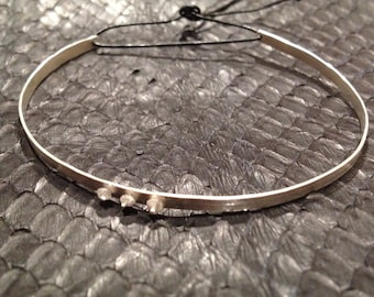diamond bead sterling silver cuff with leather tie