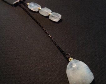 Moonstone Gemstone slider necklace  antiqued sterling silver multi stone shimmer