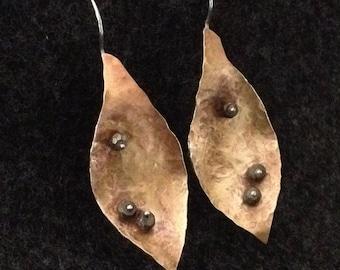 "leaf earrings -gemstone pyrite ""dew drops"" -"