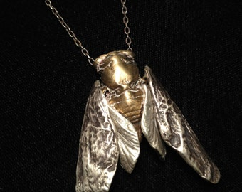cicada necklace bronze & sterling silver, nature inspired mixed metals