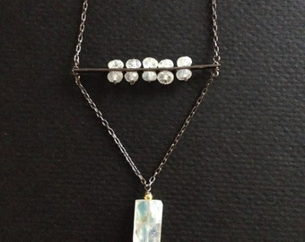 triangle suspension necklace moonstone on antiqued sterling silver with gemstone drop modern graphic