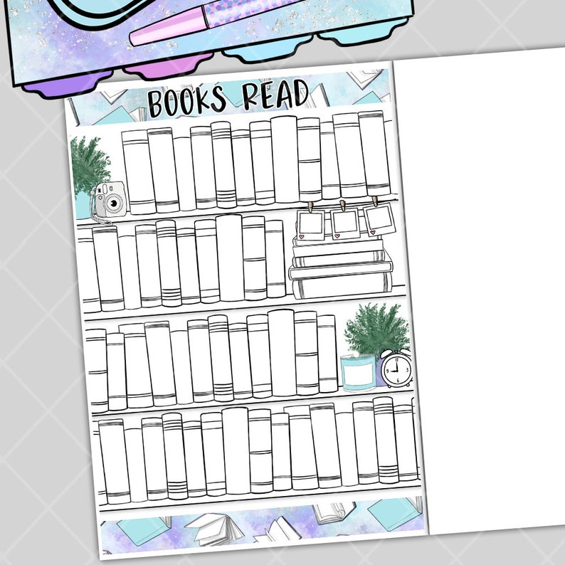 Book Read Bookshelf  Bullet Journal Layout Note Page Sticker image 0