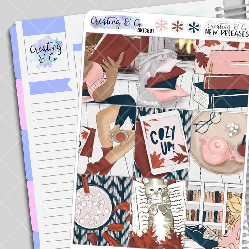Cozy Reads  Weekly Planner Stickers Kit image 0