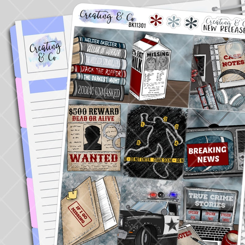 True Crime and Chill Weekly Planner Stickers Kit image 0