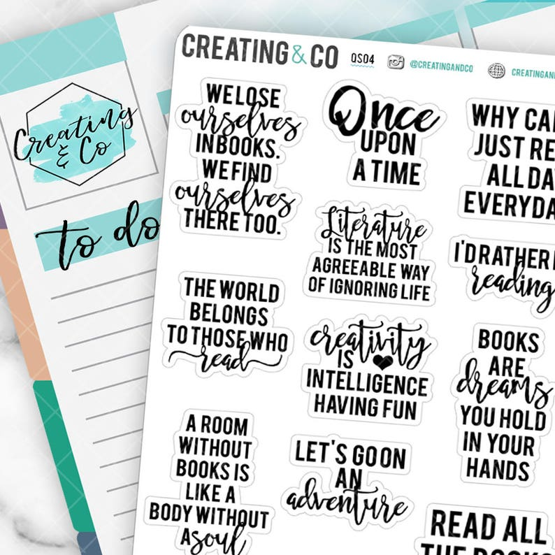 Reading Quote Planner Stickers Book Worm Stickers image 0