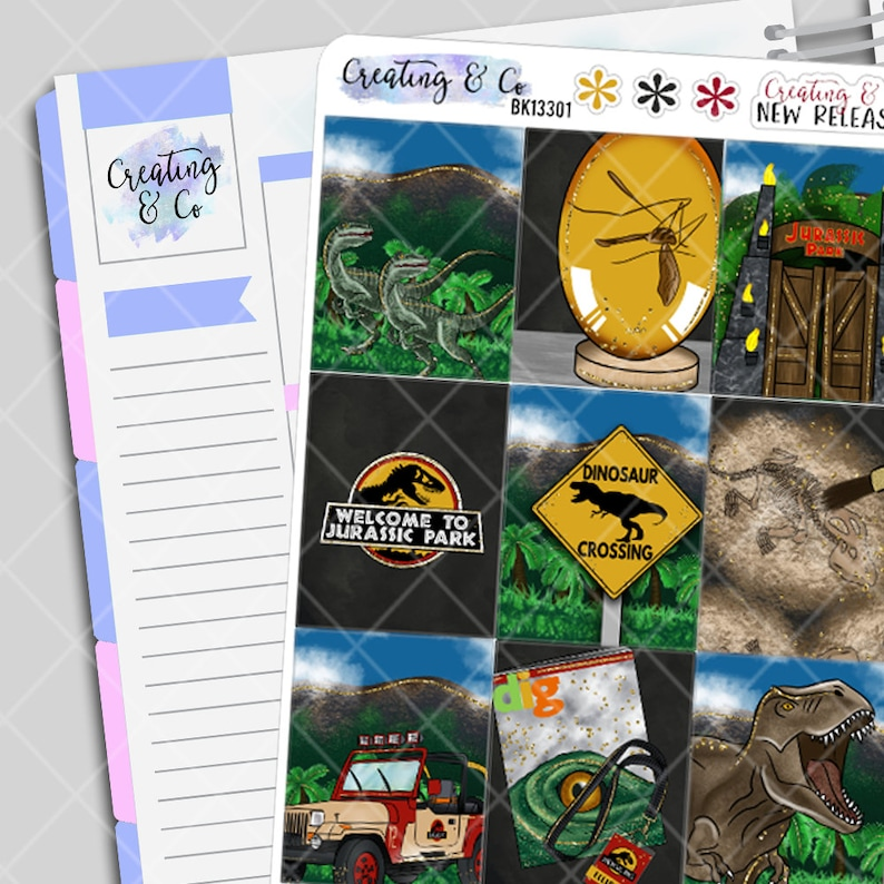 Jurassic Weekly Planner Stickers Kit image 0