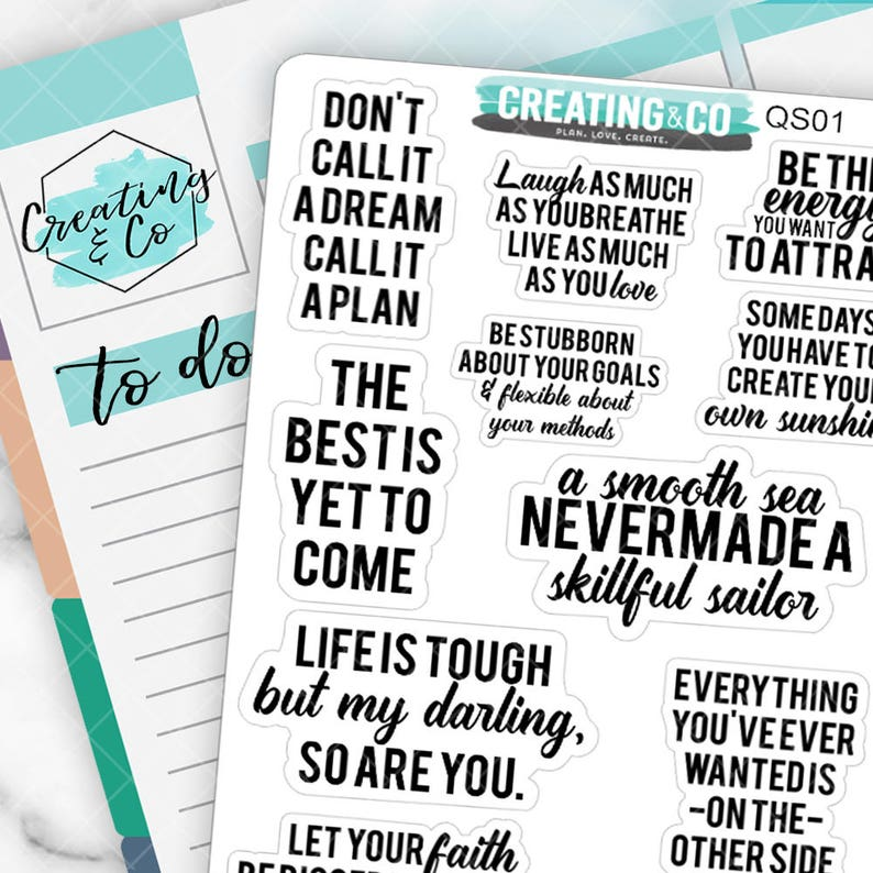 Inspirational Quote Planner Stickers Motivational Stickers image 0