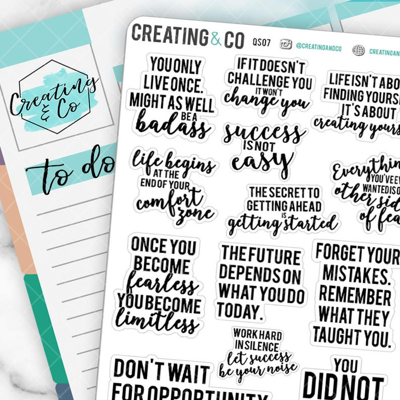 Inspirational Quote Planner Stickers for a Variety of image 0