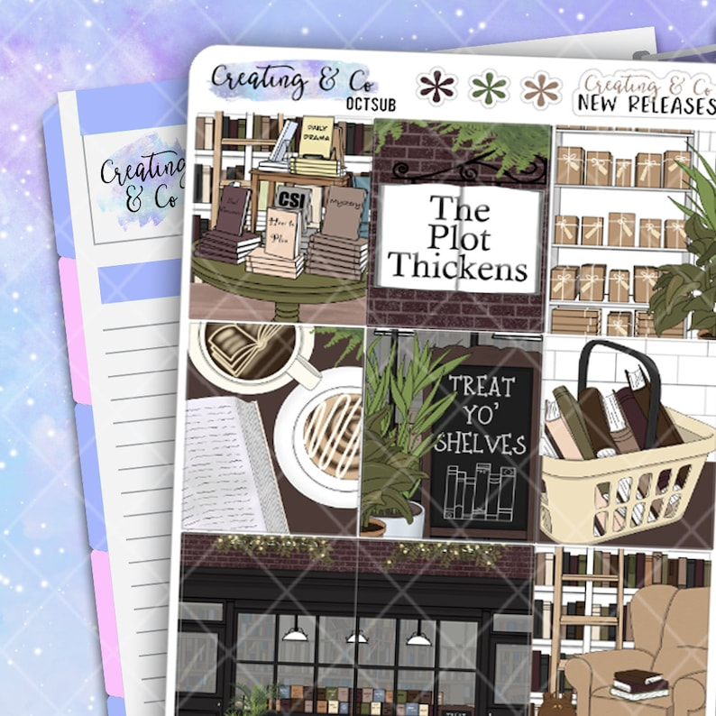 Trip to the Bookstore Weekly Planner Stickers Kit image 0
