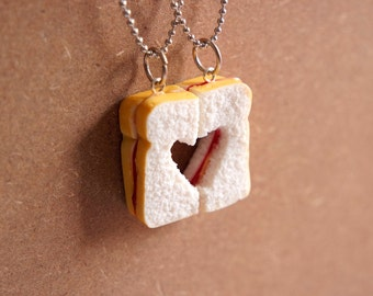 Peanut Butter and Jelly BFF Necklace - Miniature Food Jewelry, Polymer Clay Food. Best Friend Gift Necklace Jewelry.