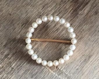 Vintage Cultured Pearl Circle pin