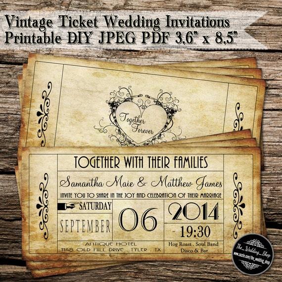 Vintage Ticket Wedding Invitations Printable Diy Jpeg Pdf Etsy