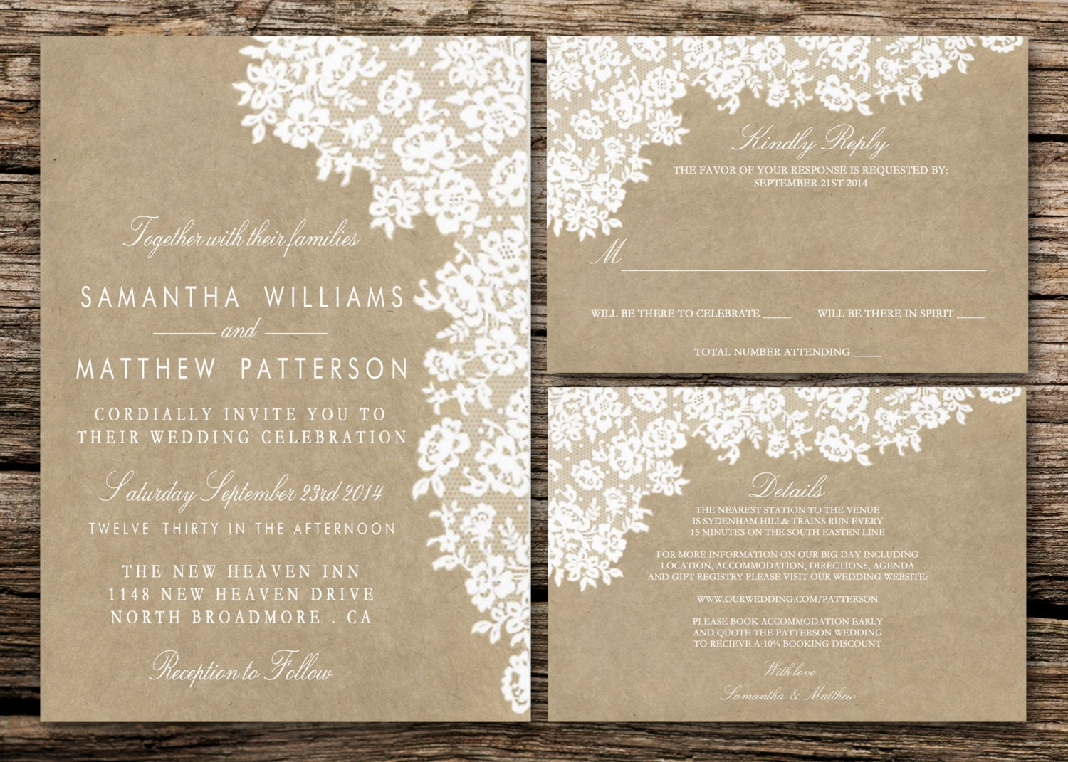 Printable Wedding Invitation Set Invitation RSVP Card | Etsy