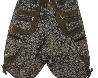 c05d6118f8c86 Asanoha Pants - 2 in 1 shorts and long pants - 9 pockets handmade sacred  psychedelic cannabis japonese hemp geometry comfortable clamdiggers