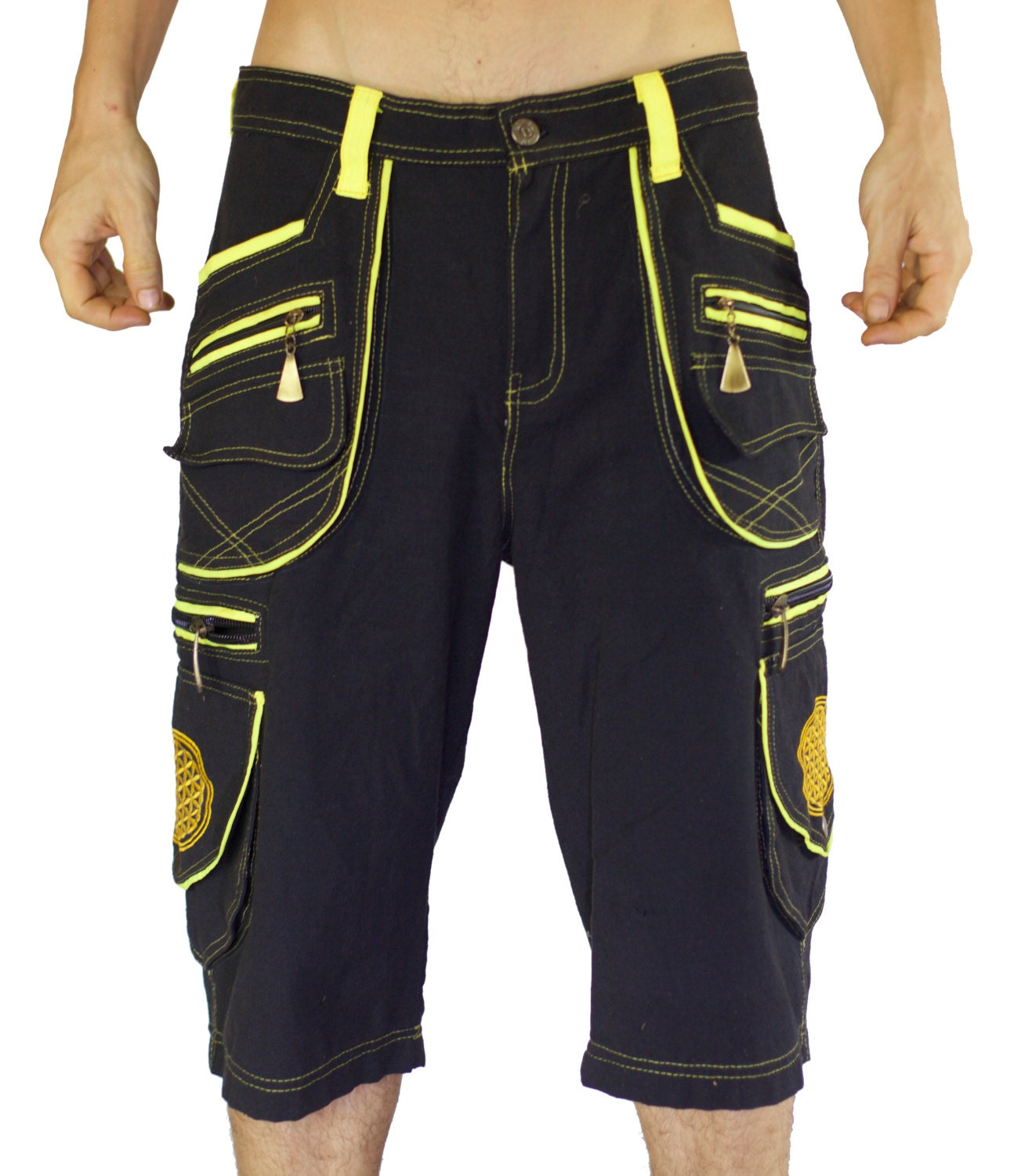 Goa Pant clamdiggers many pockets with flower of life embroidery fully customizable made after order kRxs5g56