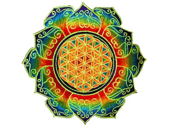 Arco Iris Flor De La Vida Mandala Geometría Sagrada Parche De Etsy