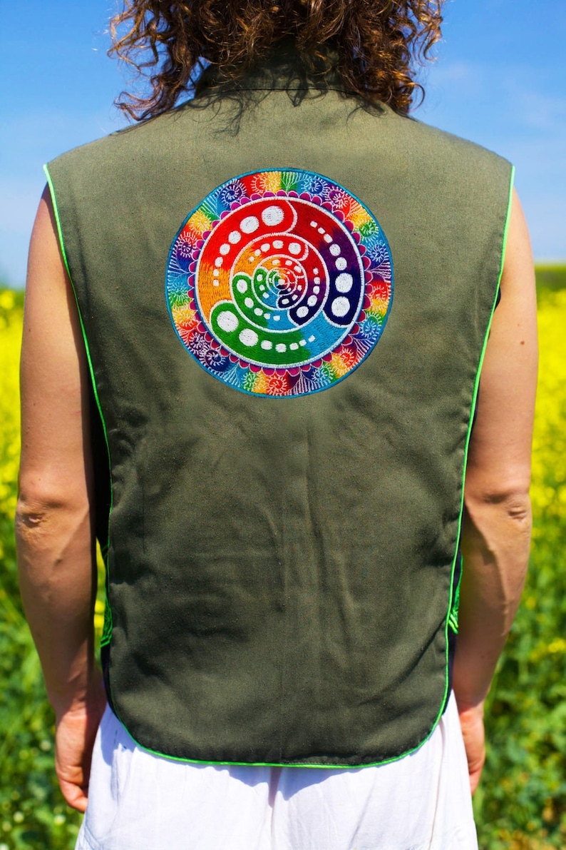 Design your jacket in any colours rainbow fractal attributes handmade in your size crop circle blacklight active 1 zip lock inside pocket