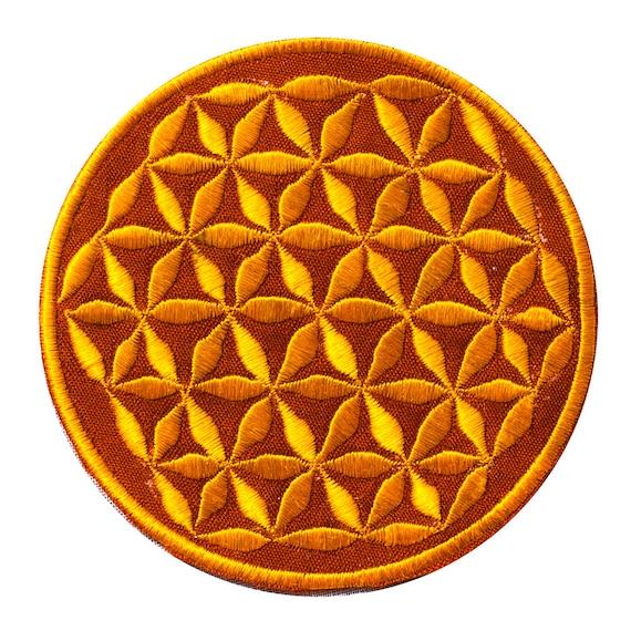 ImZauberwald Flower of Life patch holy geometry ~7inch orange mandala