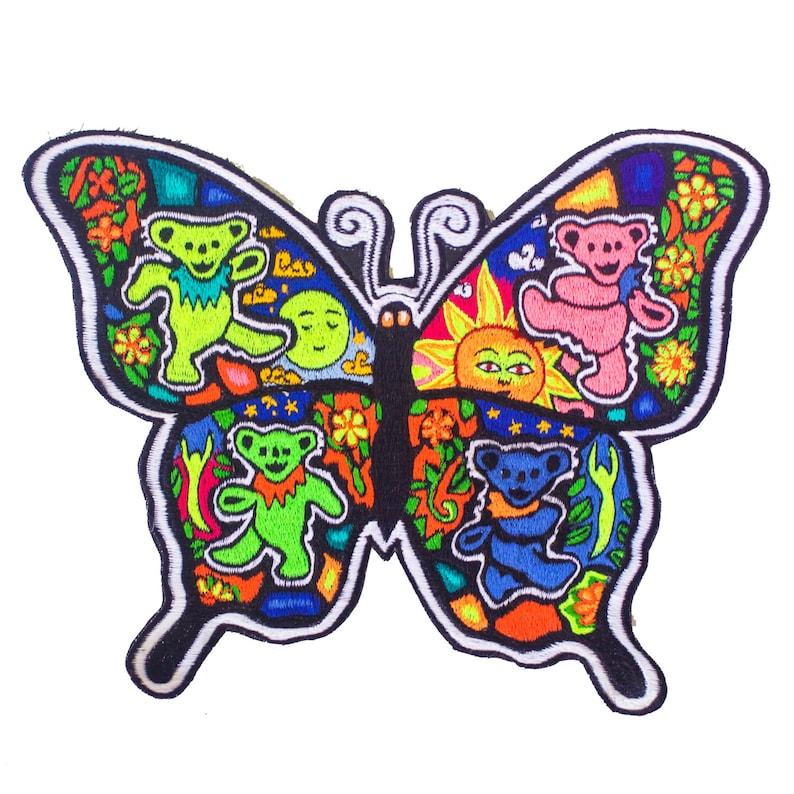 48c98b8d41 Grateful Dead Butterfly patch blacklight glowing handmade
