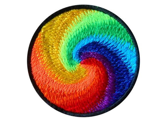 regenbogen spirale kleine patch alle farben des regenbogens etsy. Black Bedroom Furniture Sets. Home Design Ideas