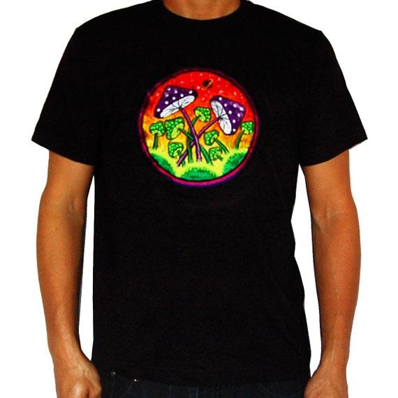 Magic Mushroom Planet T-Shirt Blacklight Handmade Embroidery