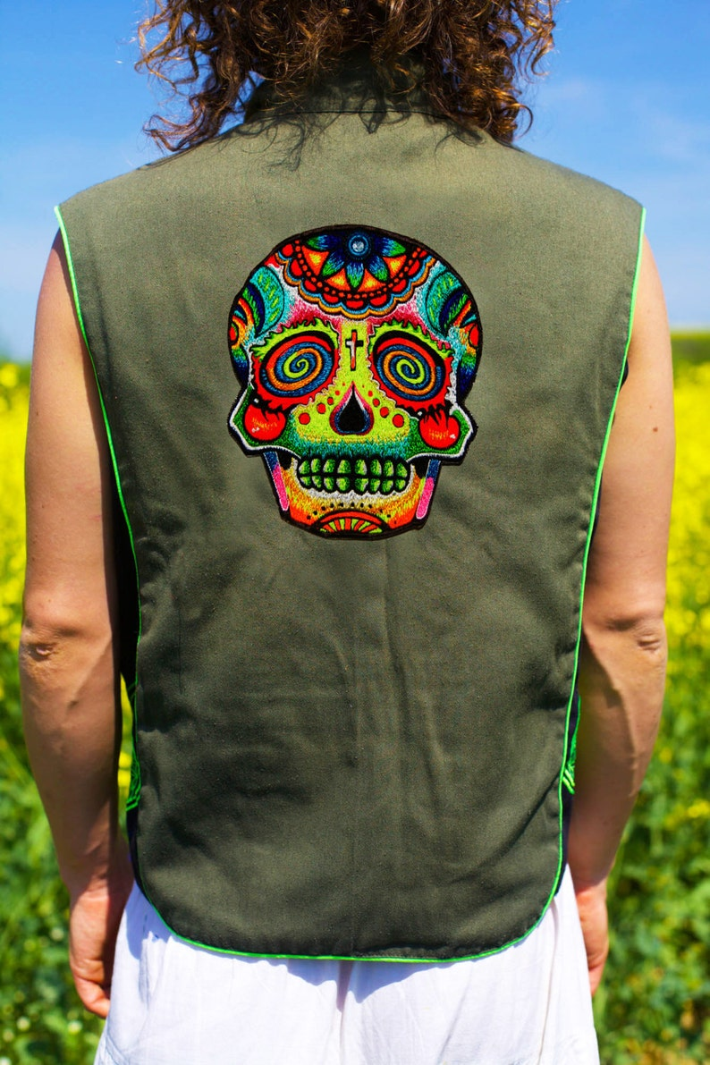 mirror skull Design your jacket in any colours handmade in your size blacklight active 1 zip lock inside pocket