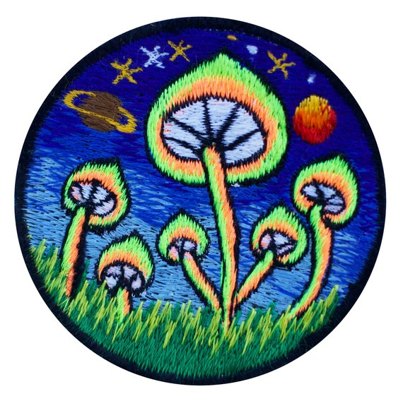 """Magic Mushroom Blue Iron On Embroidered Patch 3/""""x2.4/"""""""