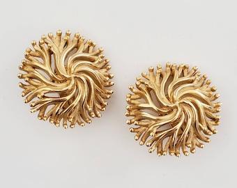 Crown Trifari Hallmark. Vintage Trifari Gold Tone Button Earrings with Latch Backs for Pierced Ears