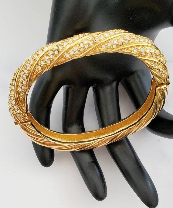 Gold Tone Hinged Bangle Bracelet Green and Clear Rhinestone Bow Overlay Vintage