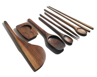 Dark Walnut mediumlarge kitchen utensils Handmade wooden set of 4