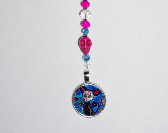 Blue and Pink, Sugar Skull CAT, Car Mirror Charm,  Goth Cat Gifts,  Unique Goth Cat Suncatcher,  Rear View Mirror Charm