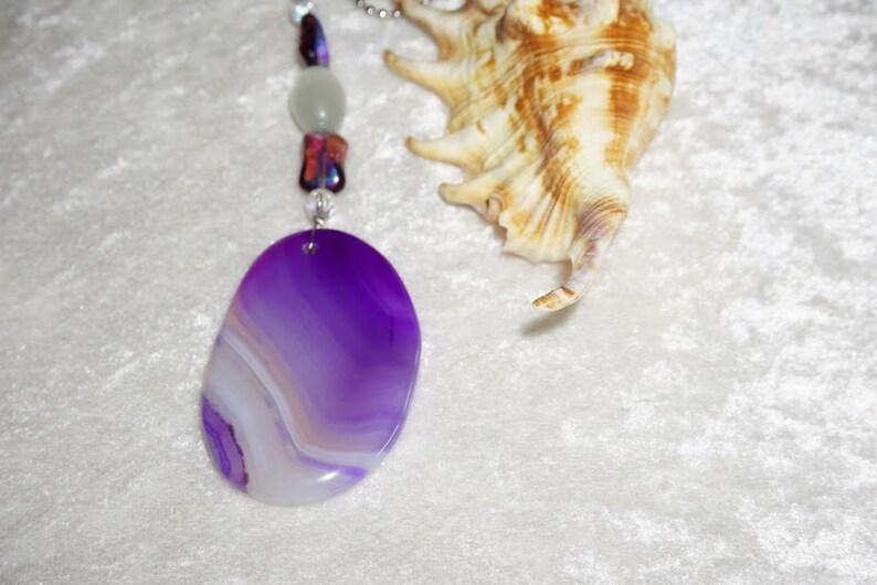 Agate Fan Pull Purple Fan Pull Free Shipping Purple and White Agate Fan Pull Agate Light Pull Light Pull Czech Glass