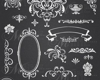 CHALK Clip Art: VICTORIAN Chalk Clipart Design Elements, Chalk Download,  Antique Vintage Chalkboard Clipart Frames Borders